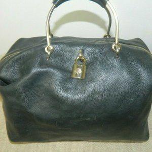 Mulberry Satchel Bag  Black Leather Gold  Handles